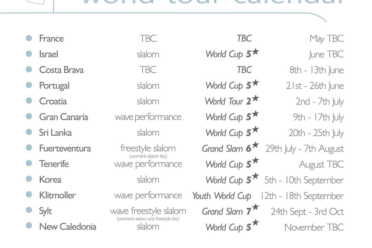 Le calendrier prévisionnel 2021 du PWA World Tour