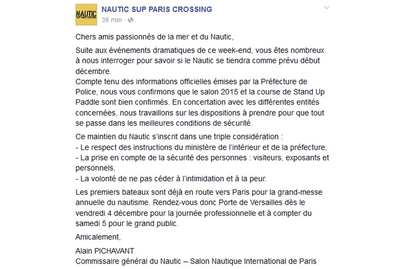 Nautic : Le salon maintenu